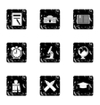 School icons set grunge style vector image vector image