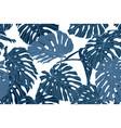 seamless blue monstera pattern jungle print vector image