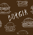 seamless burger background vector image