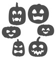 set black and white pumpkins with faces vector image vector image