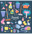 set household cleaning supplies isolated icons vector image