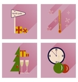 Set of flat icons with long shadow Christmas vector image vector image