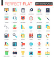 set of flat my workspace icons vector image vector image