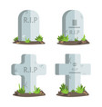 set of halloween tombstones with rip text vector image vector image
