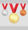 set of three medals vector image