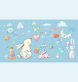 set with cute cartoon hares ballons and party vector image