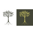 silhouette stylized tree on white background and vector image