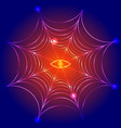 spider web cobweb with fire eye vector image vector image