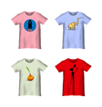 T Shirt Template with different prints variation 4 vector image vector image