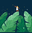 Tiny girl in a jungle forest at night cartoon