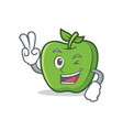 two finger green apple character cartoon vector image vector image