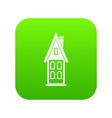 two storey house with attic icon digital green vector image vector image
