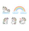unicorn and rainbow icons set on white background vector image