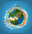vacation travelling concept travel with detailed vector image vector image