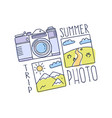 world travel concept doodle photo camera and vector image