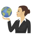 young businesswoman holding globe vector image vector image