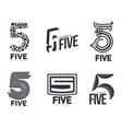 Set of black and white number five logo templates vector image