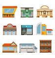 store shop front window buildings icon set flat vector image