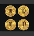 10 years warranty golden labels collection vector image vector image