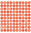 100 christmas icons hexagon orange vector image vector image