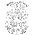 a children coloring bookpage birthday cake vector image