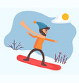 activity male snowboarding downhill vector image