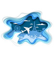 air travel concept layered paper cut style vector image
