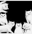 background with cartoon white cats vector image