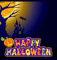 background with castle bat an evil pumpkin and vector image vector image