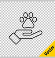 black line hands with animals footprint icon vector image vector image
