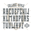 Bold serif font in college style with contour vector image vector image