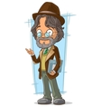 Cartoon clever teacher with hat vector image vector image