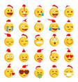 christmas rough emoji set vector image