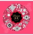 Circle floral wreath design vector image