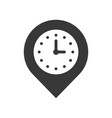 clock and pin place location and timer icon pixel vector image vector image