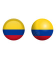 colombia flag under 3d dome button and on glossy vector image vector image