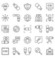 damaged usb flash drive outline icons usb vector image
