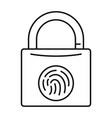 fingerprint lock icon outline style vector image vector image