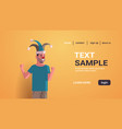 first april fool day guy wearing funny jester hat vector image