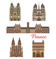 france landmarks travel buildings icons vector image vector image