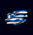 grunge textured greek flag vector image vector image
