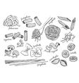 hand drawn pasta set Vintage line art vector image vector image