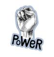 hand drawn raised fist vector image
