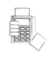 hand with dataphone payment concept vector image vector image