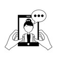 hands with smartphone woman speech bubble vector image vector image