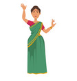 indian woman in sari dancing nationality travel to vector image
