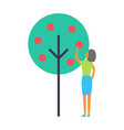 lady working in garden isolated icon vector image