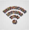 large group people in wi-fi sign shape vector image vector image