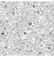 love and hearts doodles seamless background vector image