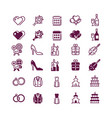 love and wedding icons isolated on white vector image vector image